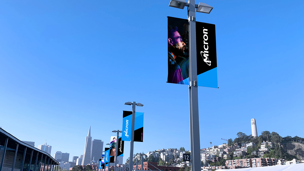 Micron street lamp banners