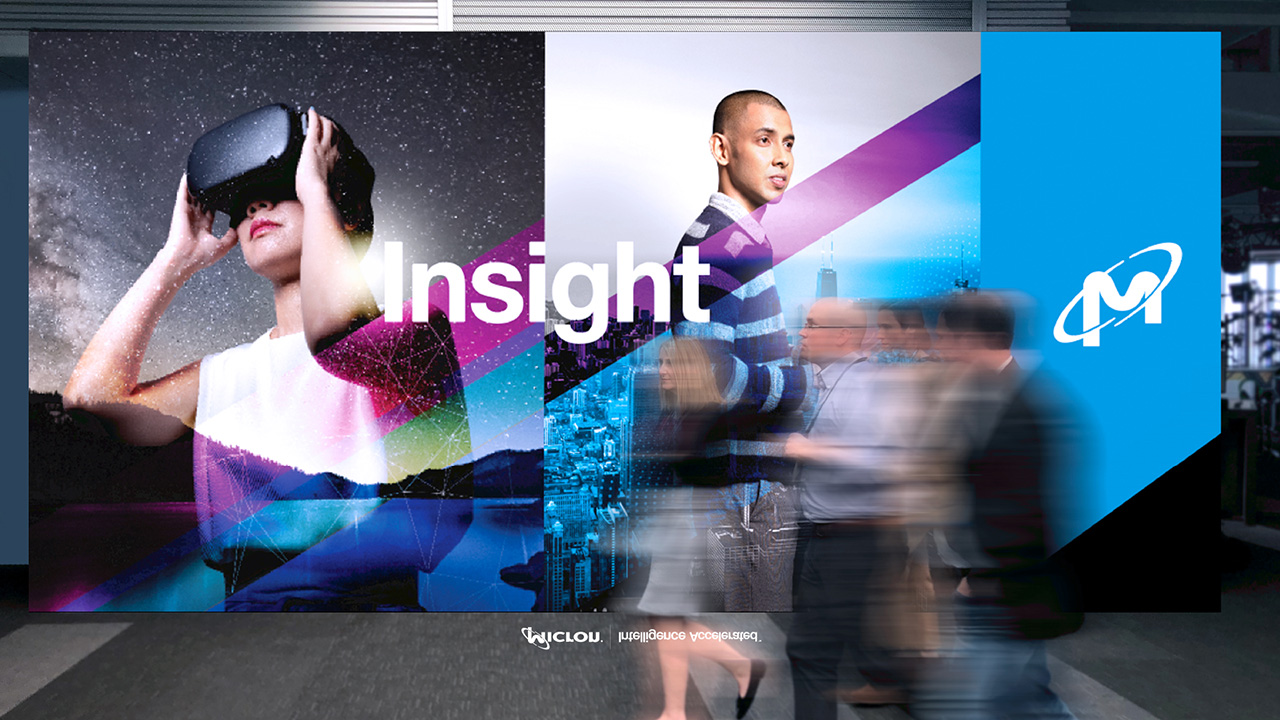 Banners with text Insight. Woman with virtual reality and business man.